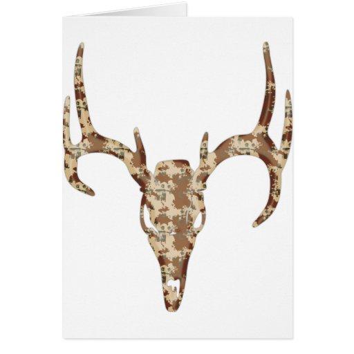 DeerSkull in Digital Brown for Hunters Greeting Card