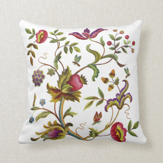 Deerwod Faux Jacobean Embroidered Pillow