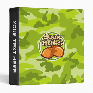 Deez Nuts; bright green camo, camouflage Vinyl Binders