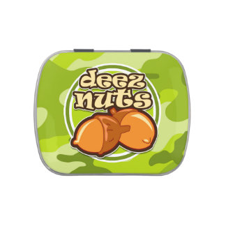 Deez Nuts; bright green camo, camouflage Jelly Belly Candy Tin
