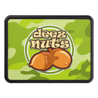 Deez Nuts; bright green camo, camouflage Tow Hitch Cover