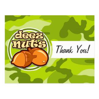 Deez Nuts; bright green camo, camouflage Postcard