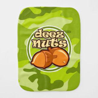Deez Nuts; bright green camo, camouflage Burp Cloths