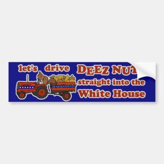 Deez nuts president 2016 election funny squirrel car bumper sticker