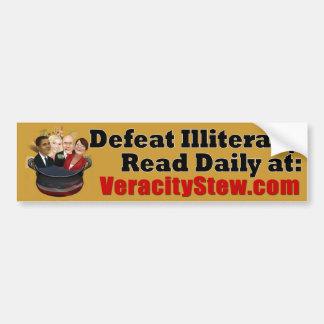 Defeat Illiteracy Car Bumper Sticker