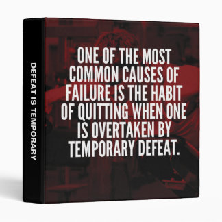 Defeat Is Temporary - Workout Motivational 3 Ring Binder