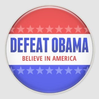 Defeat Obama Classic Round Sticker