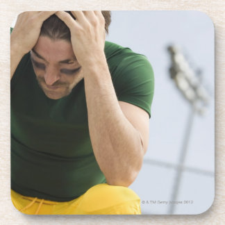 Defeated Football Player with Head in Hands Coaster
