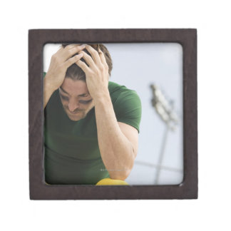 Defeated Football Player with Head in Hands Keepsake Box
