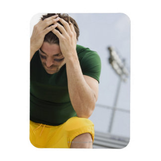 Defeated Football Player with Head in Hands Rectangular Photo Magnet