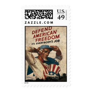 Defend American Freedom It s Everybody s Job Postage Stamp