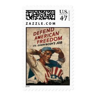 Defend American Freedom It's Everybody's Job Postage