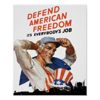 Defend American Freedom -- Uncle Sam WWII Poster