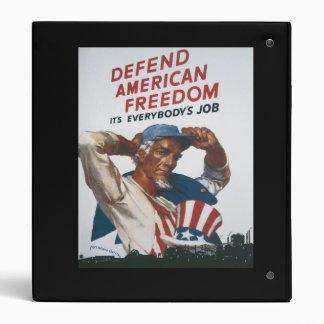 Defend American Freedom Vintage War Poster Binder