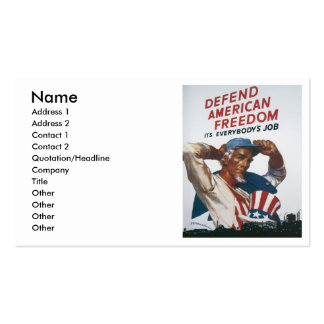 Defend American Freedom Vintage War Poster Business Card