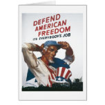Defend American Freedom Vintage War Poster Greeting Card