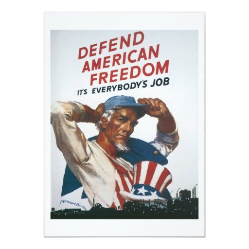 Defend American Freedom Vintage War Poster 5x7 Paper Invitation Card