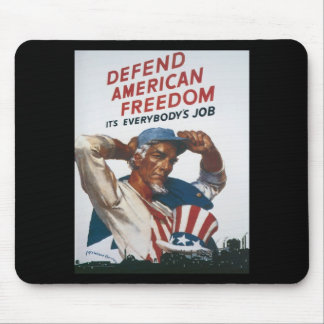 Defend American Freedom Vintage War Poster Mouse Pad