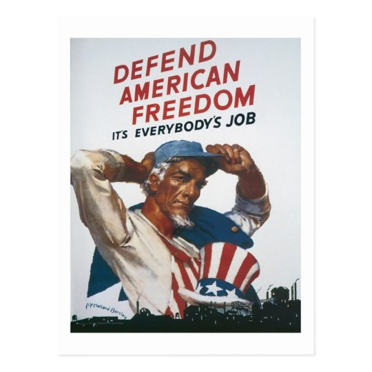 Defend American Freedom Vintage War Poster Postcard