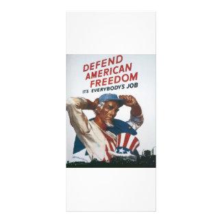 Defend American Freedom Vintage War Poster Rack Card