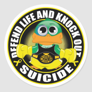 Defend Life and Knock Out Suicide Classic Round Sticker