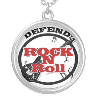 Defend Rock N Roll Silver Plated Necklace