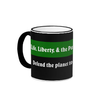 Defend the planet to protect your rights ringer mug