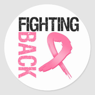 Defenderse al cáncer de pecho pegatina redonda