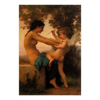 Defending Herself Against Eros (Cupid) Bouguereau Posters