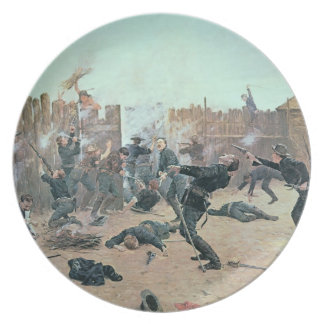 Defending the Fort: Indians attack a U.S. Cavalry Melamine Plate