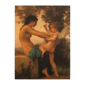 Defensa contra el eros (Cupid) Bouguereau Impresiones En Madera