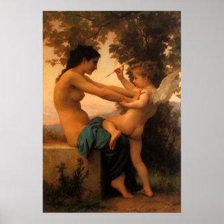 Defensa contra el eros (Cupid) Bouguereau Póster