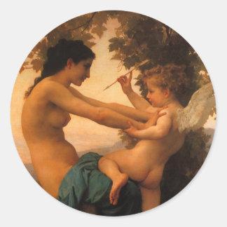Defensa contra el eros (Cupid) Bouguereau Pegatina Redonda