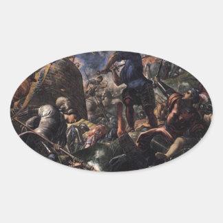 Defensa de Brescia por Tintoretto Pegatina Ovalada