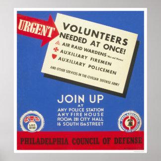 Defensa de Philadelphia - voluntarios necesarios - Póster