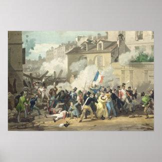 Defensa de una barricada, el 29 de julio de 1830 póster