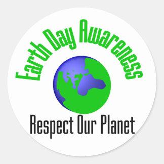 Defensa del Día de la Tierra Pegatina Redonda