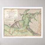 Defensa del mapa 1778 del SC de Charleston Posters