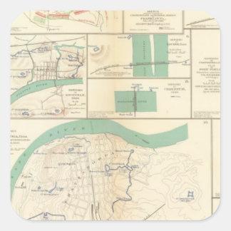 Defensas Chattanooga Calcomanías Cuadradass