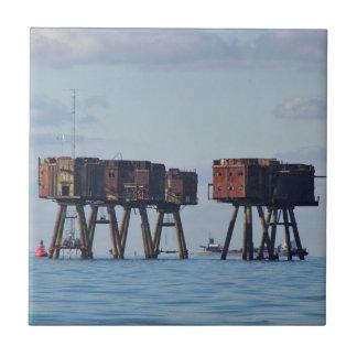 Defensas del estuario de la Segunda Guerra Mundial Azulejo Cuadrado Pequeño
