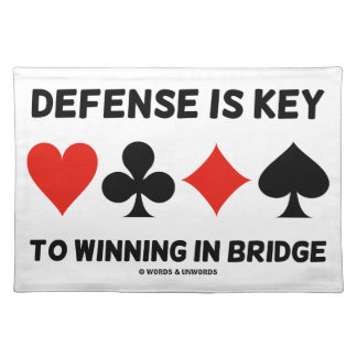 Defense Is Key To Winning In Bridge (Card Suits) Cloth Place Mat