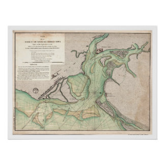 Defense of Charleston SC Map 1778 Poster