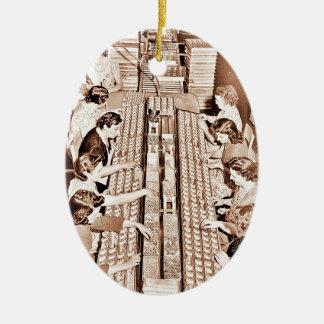 Defense Plant Assembly Line Ceramic Ornament