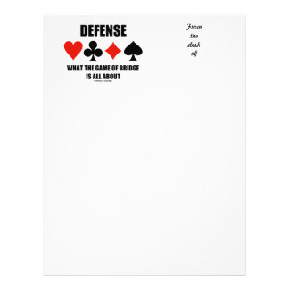 Defense What The Game Of Bridge Is All About Letterhead