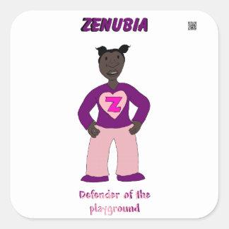 Defensor de Zenubia del patio Pegatina Cuadrada