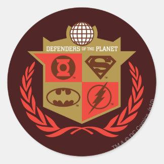 Defensores de la liga de justicia del planeta pegatina redonda