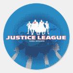Defensores globales de la liga de justicia pegatina redonda