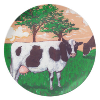 Defiant Dairy Cow Dinner Plates