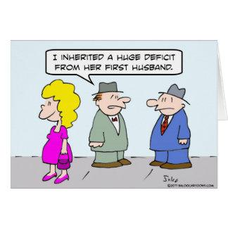 Déficit heredado individuo del primer marido de la tarjeta de felicitación
