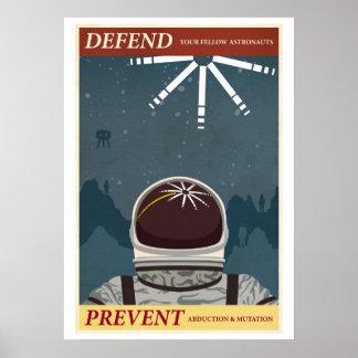 Defienda a sus astronautas compañeros póster